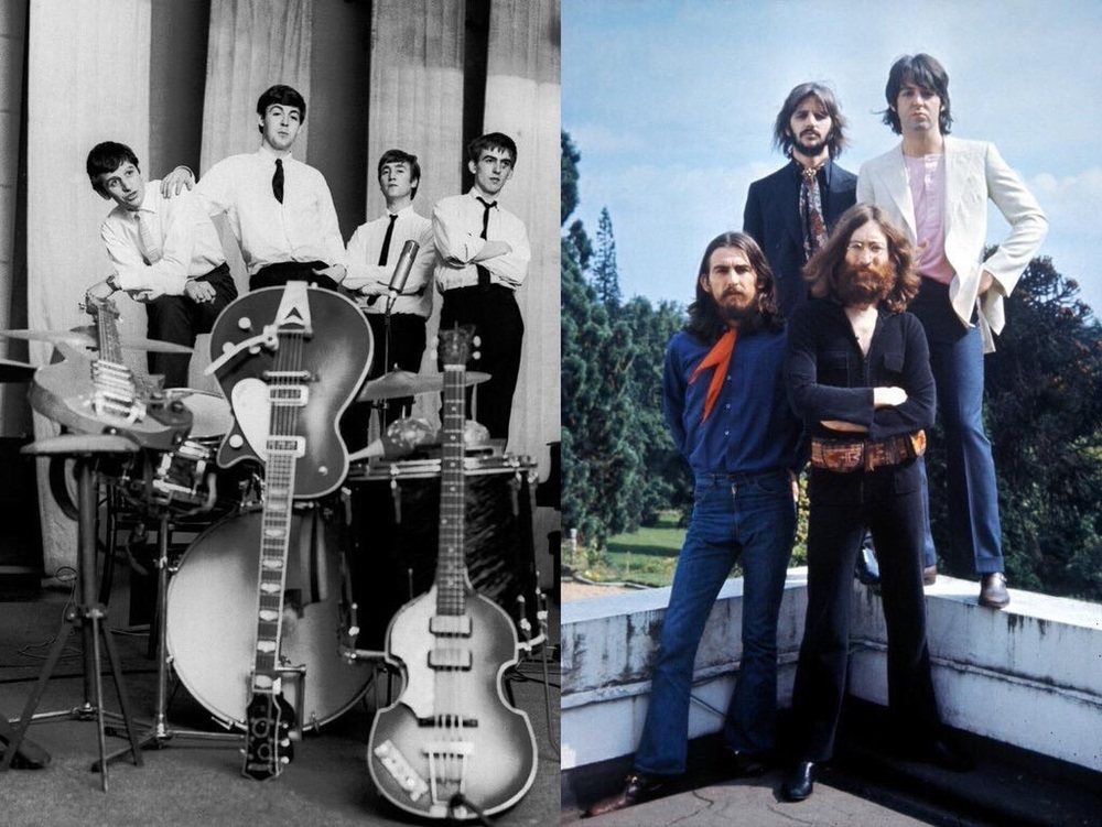 The Beatles 1962 and 1969.