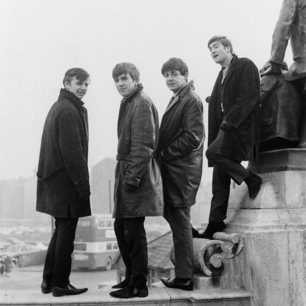 The Beatles in Liverpool's Derby Square, Feb 1963.