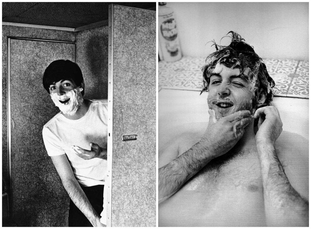 Paul McCartney shaving, 1964 and 1968.