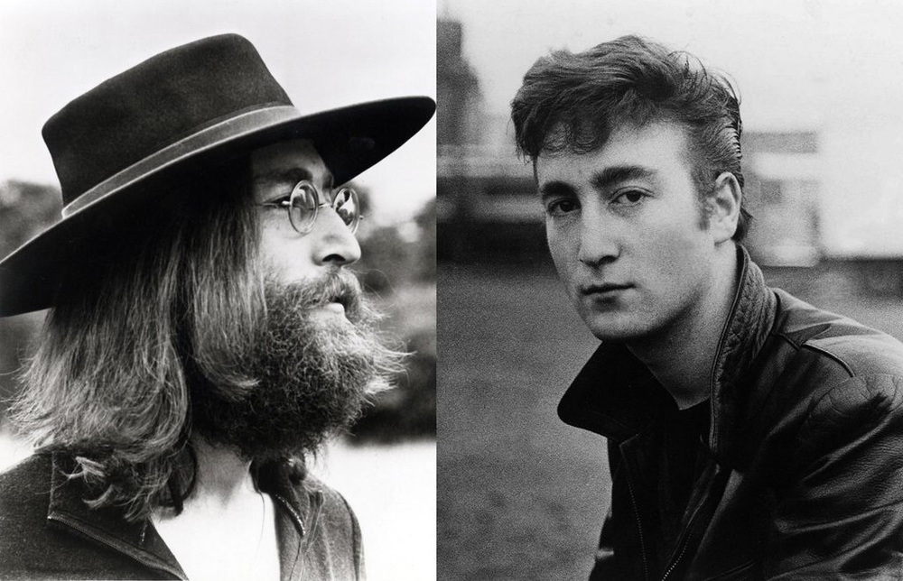 John Lennon 1960 and 1969.