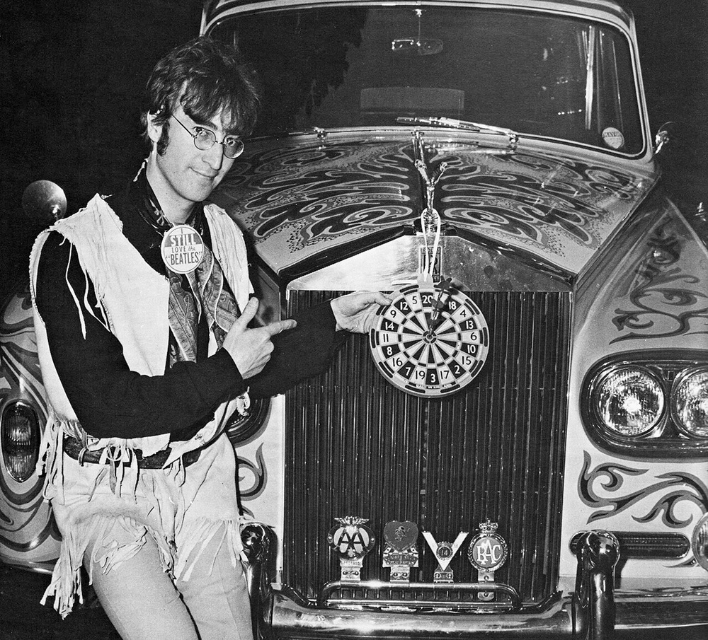 John Lennon with his psychedelic Rolls Royce, 1967.