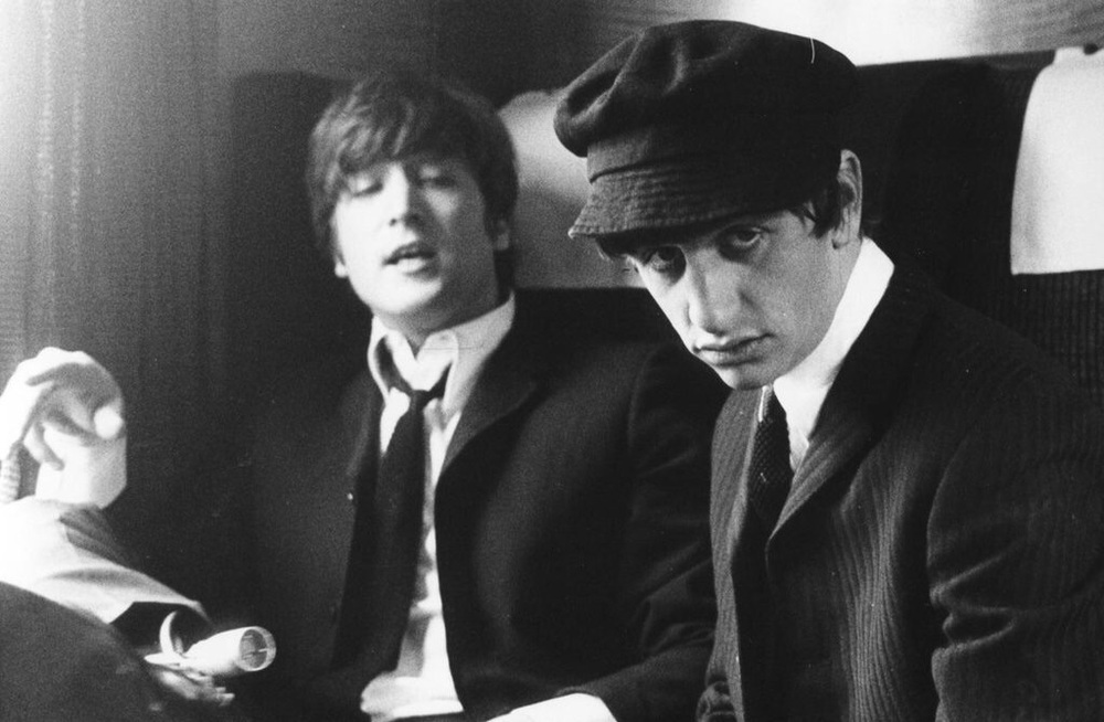 John Lennon and Ringo Starr on the set of A Hard Day's Night, 1964.