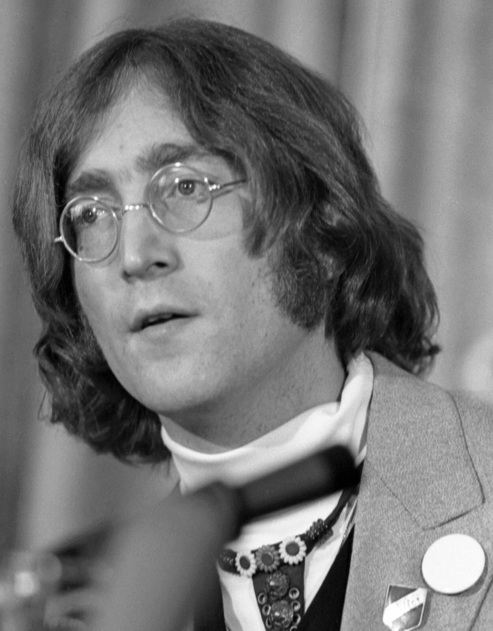 John Lennon at an Apple press conference, May 1968.
