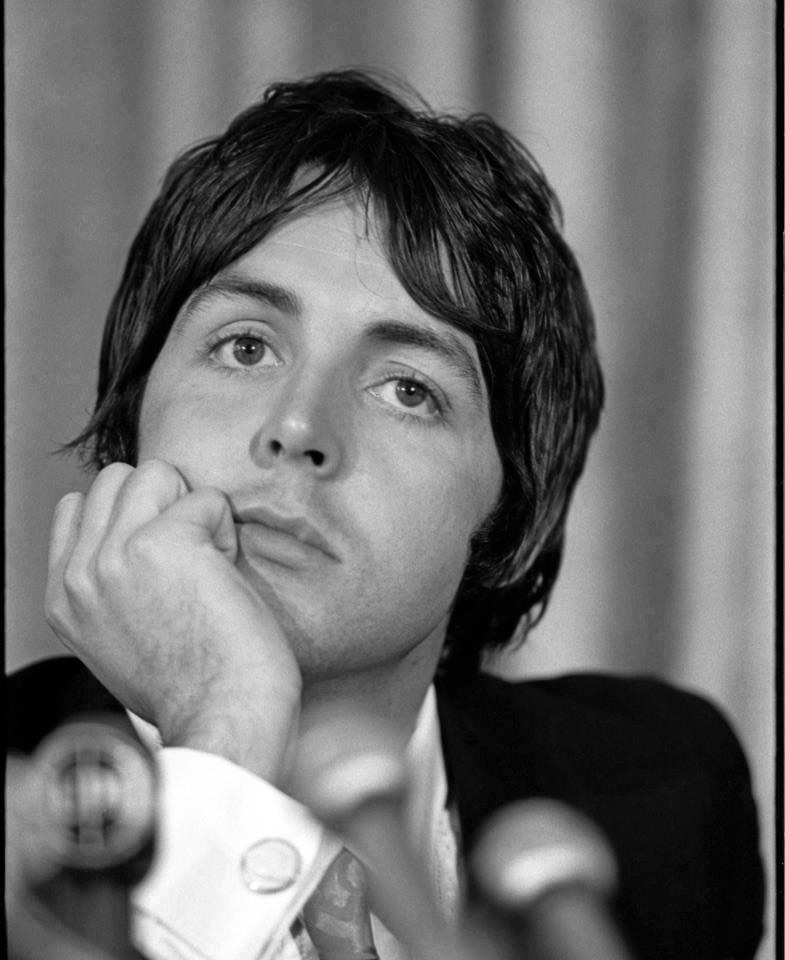 Paul McCartney at an Apple press conference, May 1968.