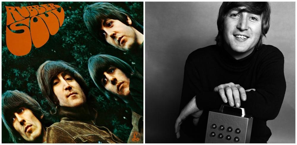 Rubber Soul album cover and John Lennon, 1965.