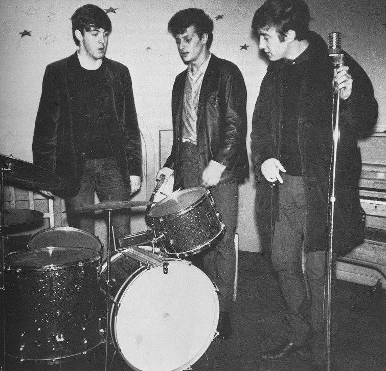 John Lennon, Paul McCartney and Pete Best, July 1962.