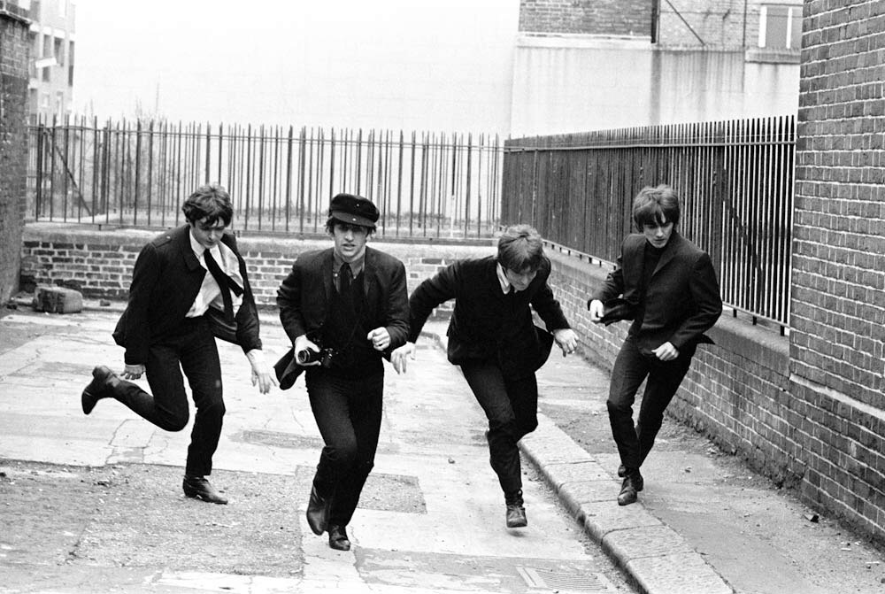 The Beatles filming A Hard Day's Night, 1964.
