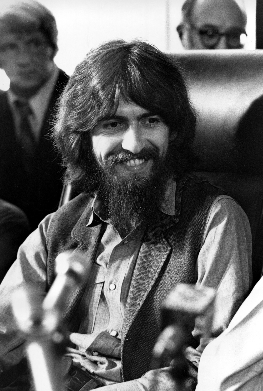 George Harrison at a press conference, 1971.