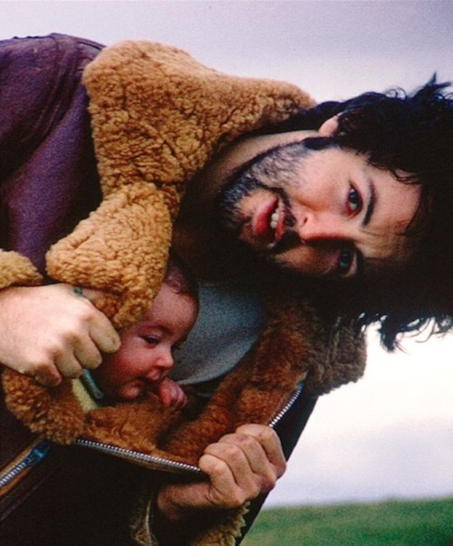 Paul McCartney with daughter Mary on his Scottish farm, 1969.