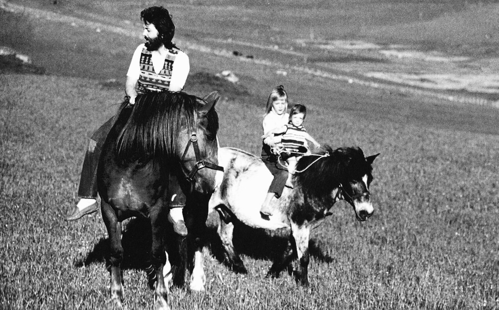 Paul McCartney with daughters Mary and Heather on his Scottish farm, 1969.