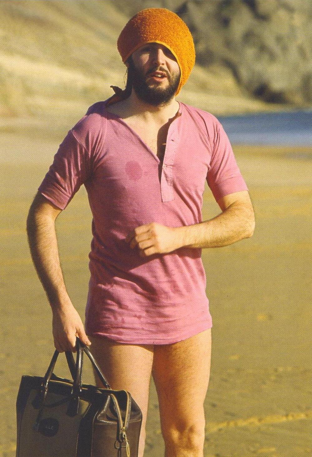 Paul McCartney on a beach in Scotland, 1969.