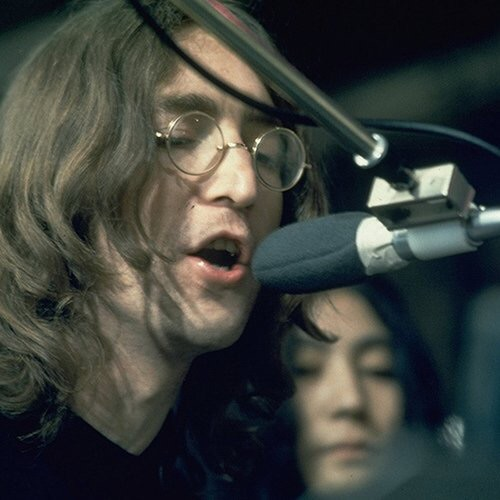 John Lennon recording Let It Be, 1969.