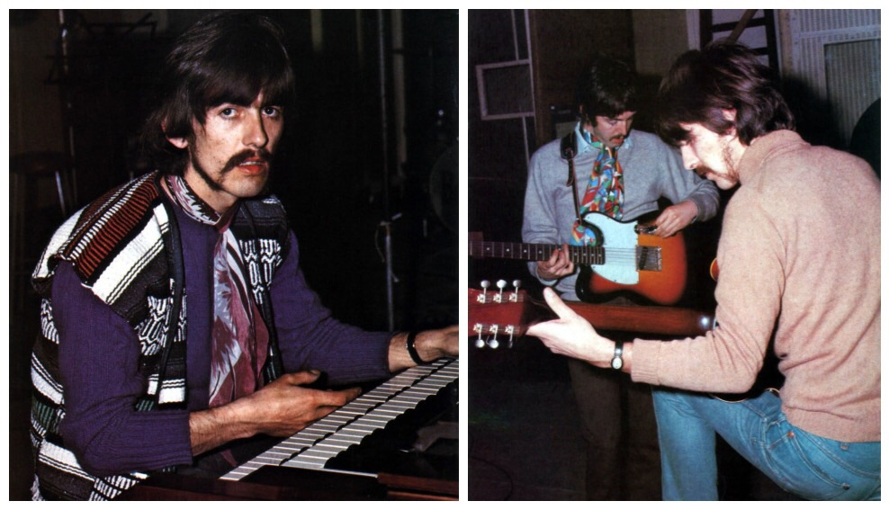 Paul McCartney and George Harrison recording Sgt. Pepper, 1967.