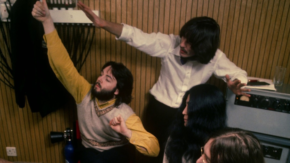 George Harrison, Paul McCartney and John Lennon recording Let It Be, 1969.