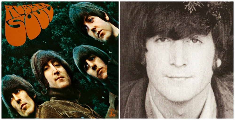 Rubber Soul album cover and John Lennon , 1965.