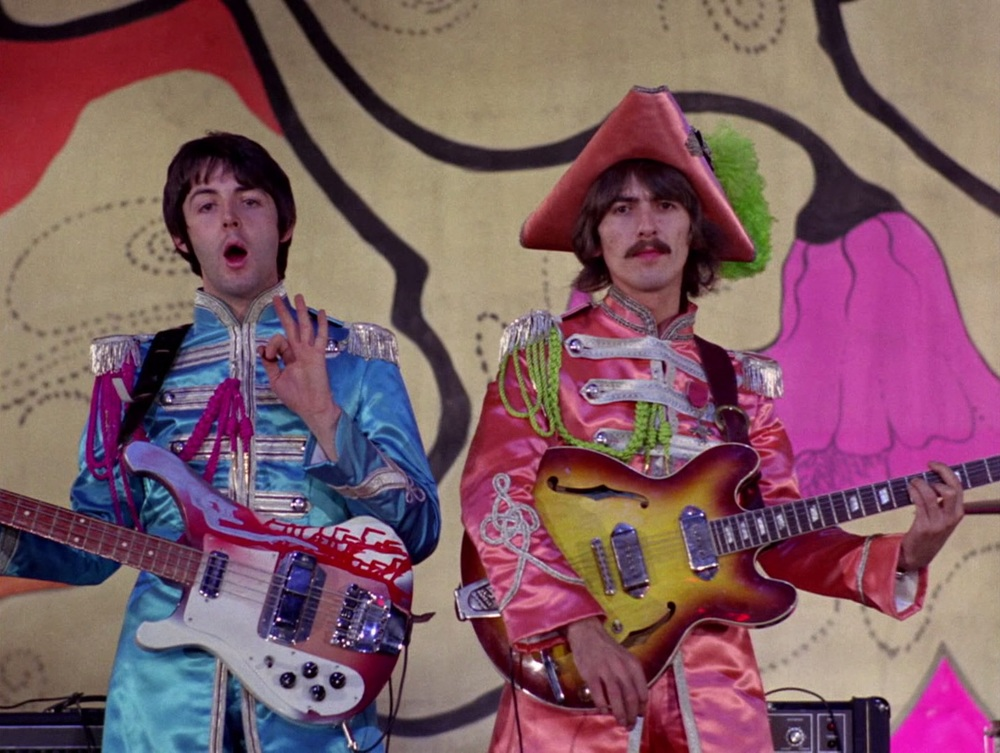 Paul McCartney and George Harrison recording a promo video for Hello, Goodbye, November 10th 1967.