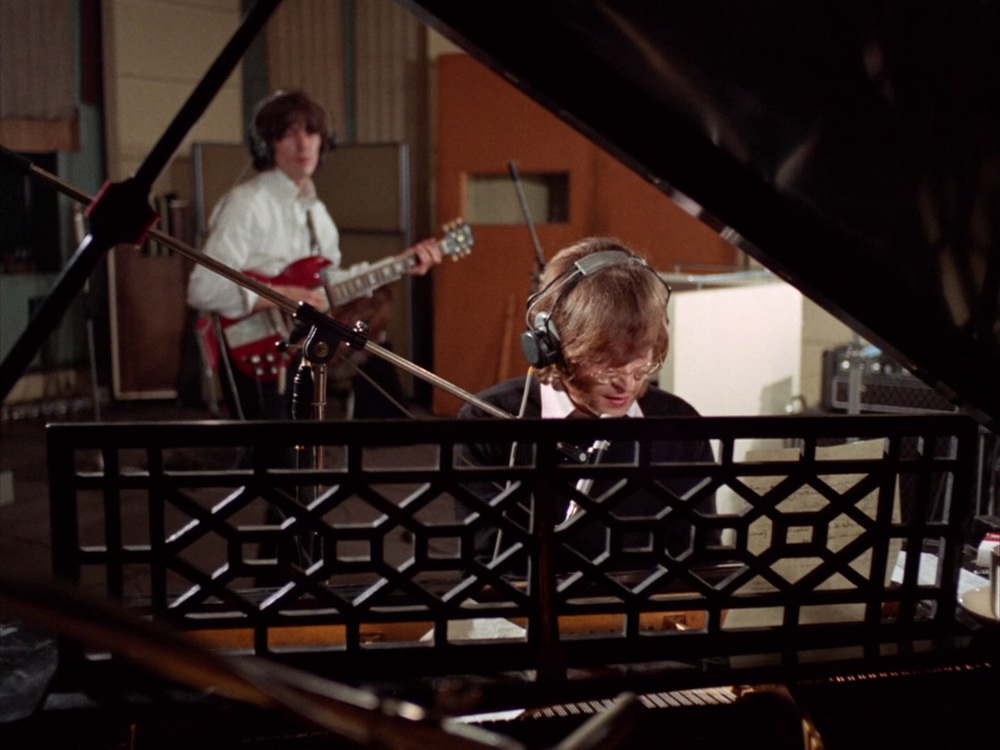 John Lennon and George Harrison recording Hey Bulldog, February 11th 1968.