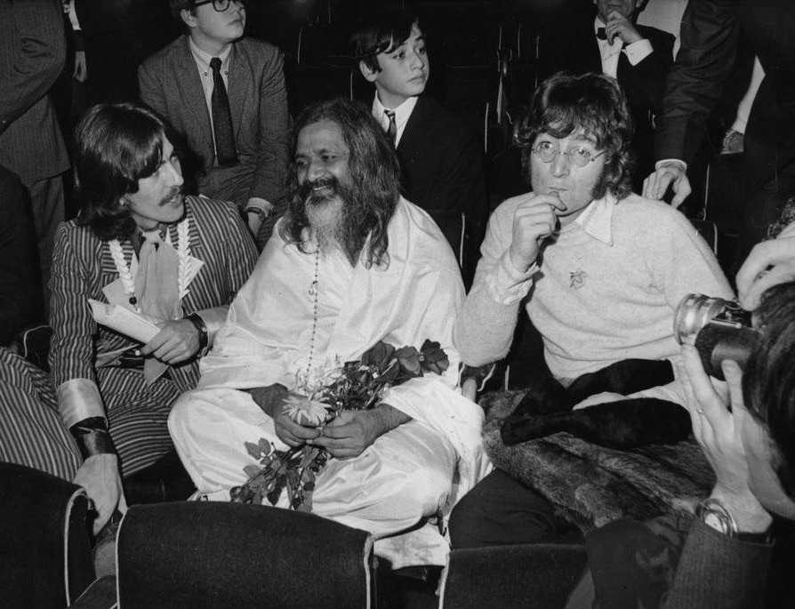 John Lennon and George Harrison with Maharishi Mahesh Yogi, 1967.