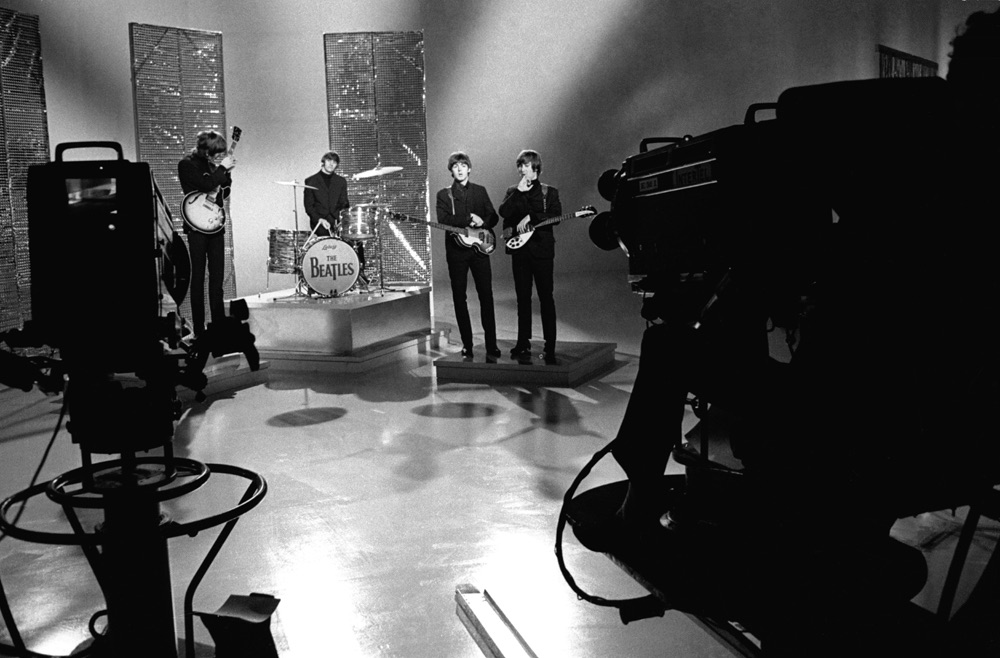 The Beatles filming a promotional clip for Day Tripper, 1965.