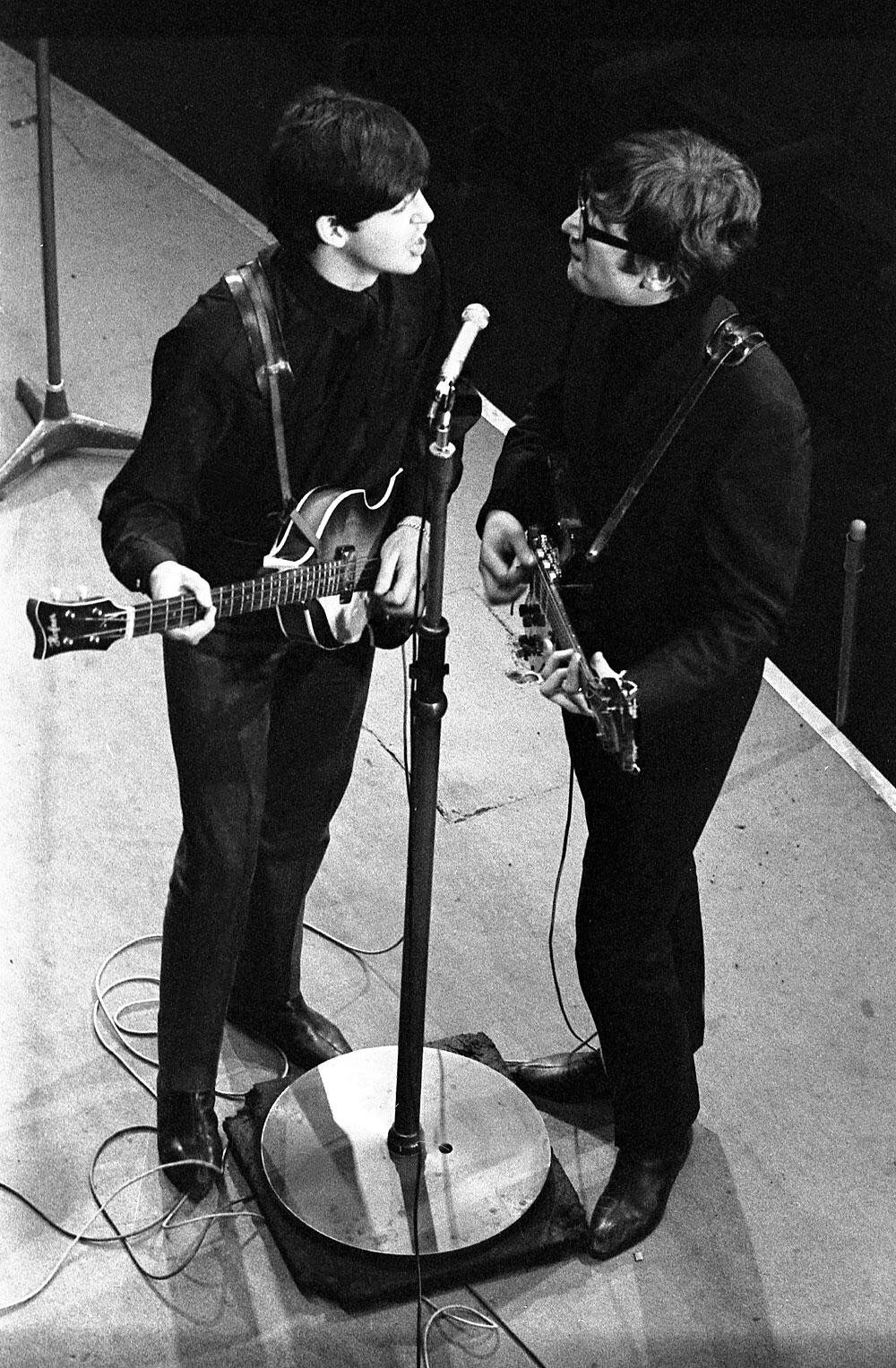 John Lennon and Paul McCartney at the BBC, 1963.