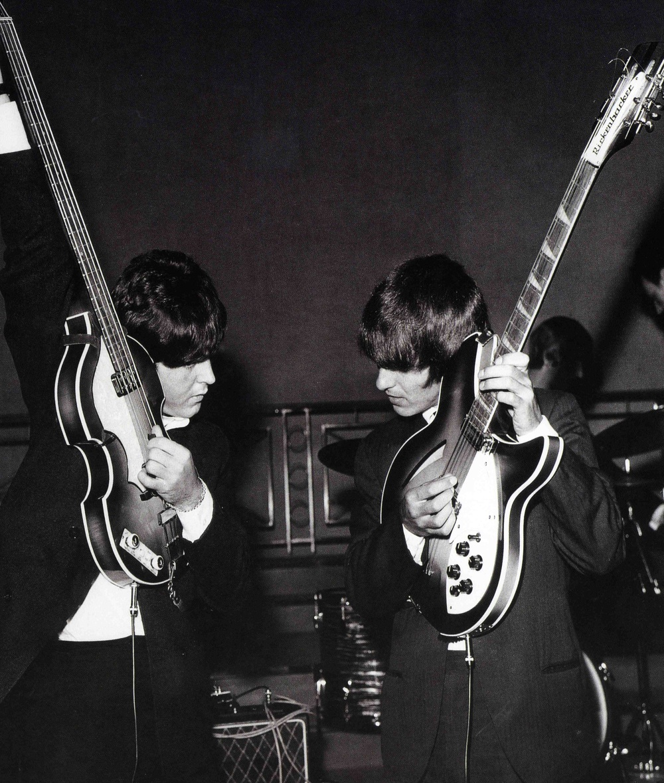 Paul McCartney and George Harrison, 1964.