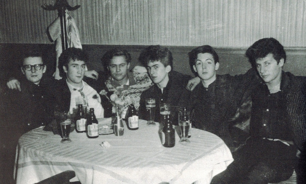 The Beatles with Pete Best and Stuart Sutcliffe, 1960.