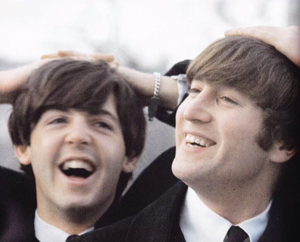 Paul McCartney and John Lennon in Central Park, February 8th 1964.