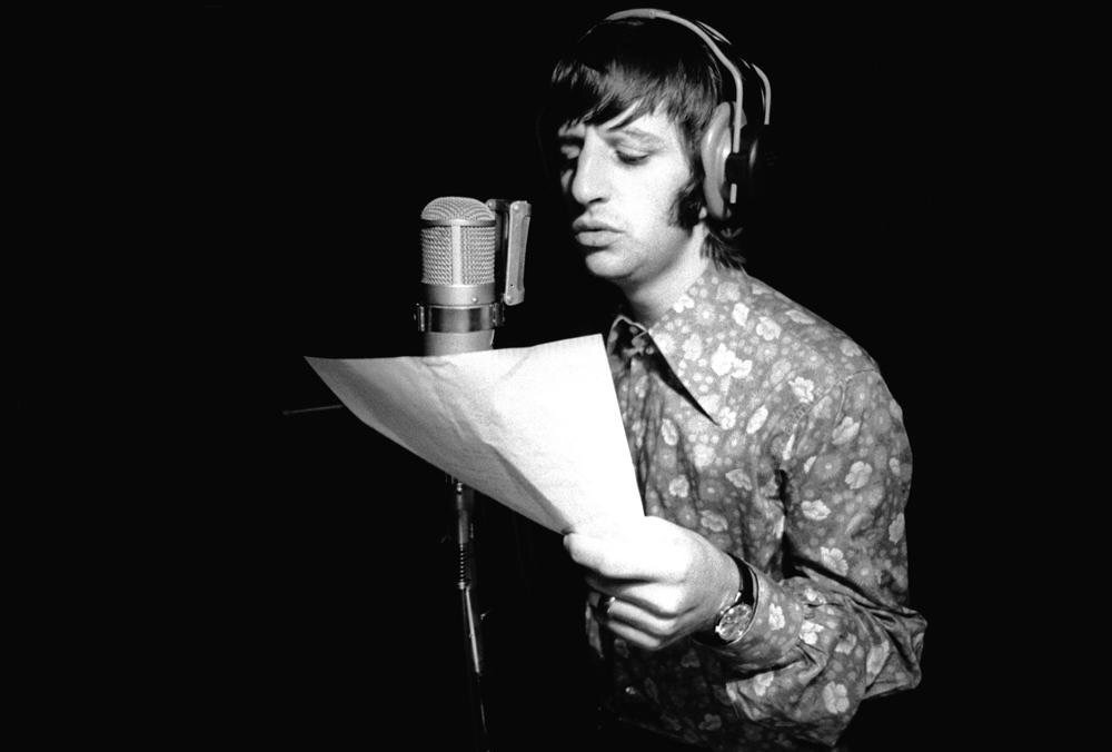 Ringo Starr recording vocals for the White Album, 1968.