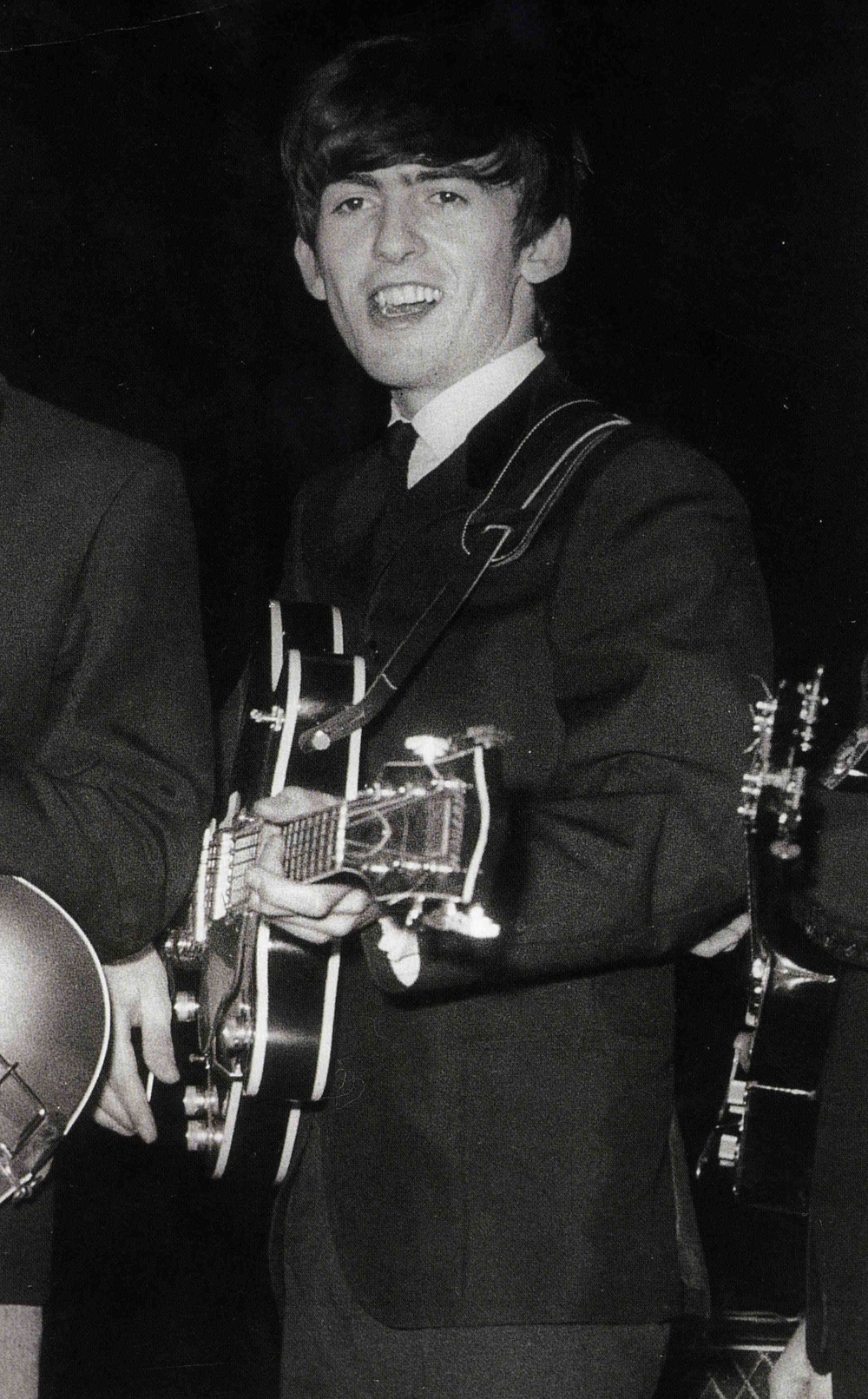 George Harrison photographed during the Beatles' UK tour of 1963.