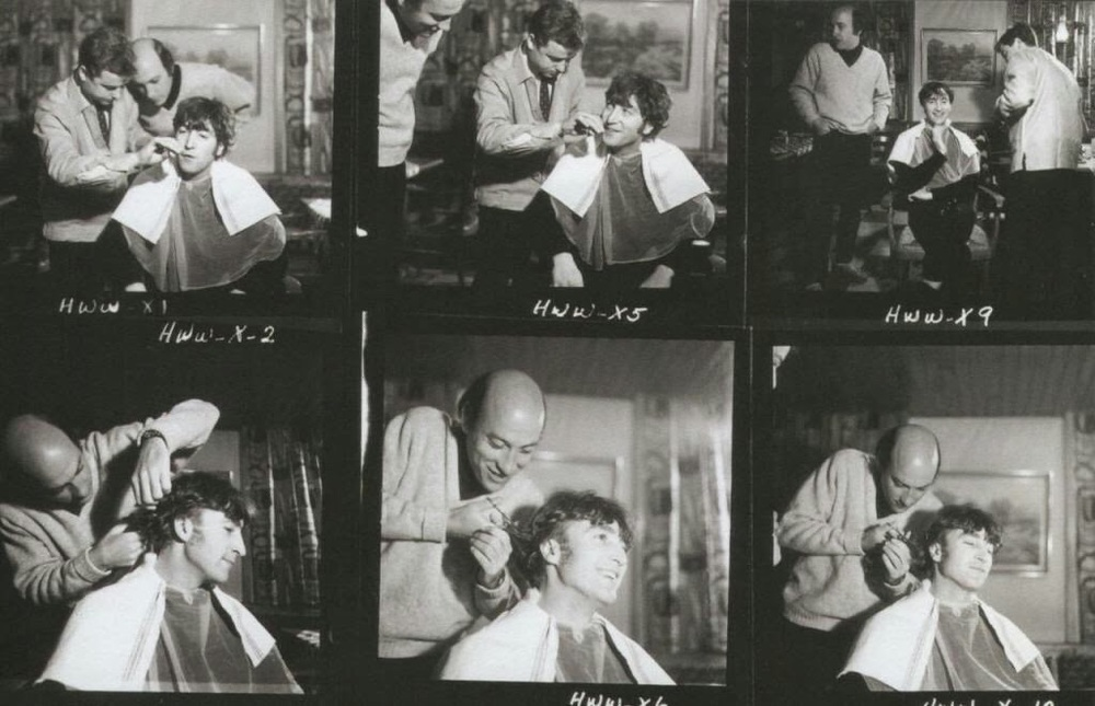 Director Dick Lester cutting John Lennon's hair for How I Won the War, 1966.