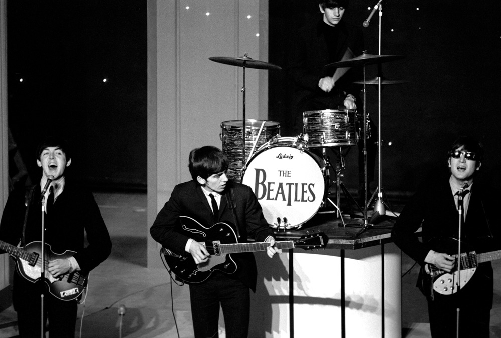 The Beatles on their 1963 tour of the UK.