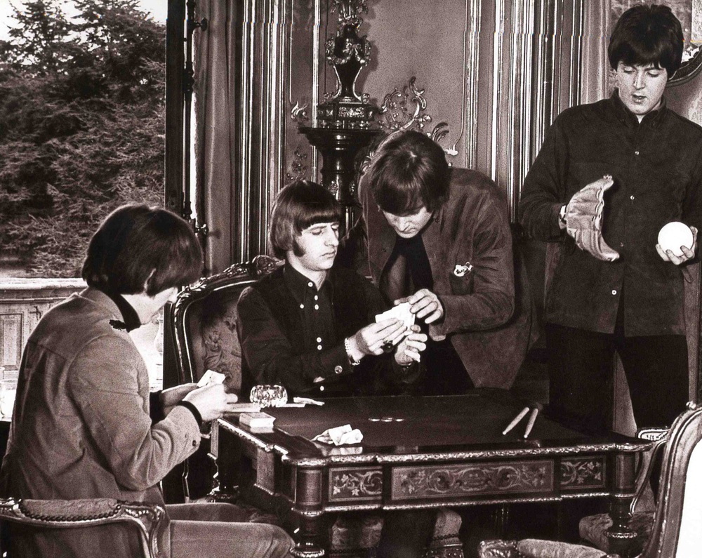 The Beatles filming Help! at Cliveden House, 1965.