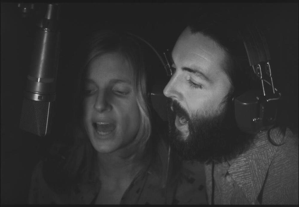 Paul and Linda McMcCartney recording their Ram album, 1971.