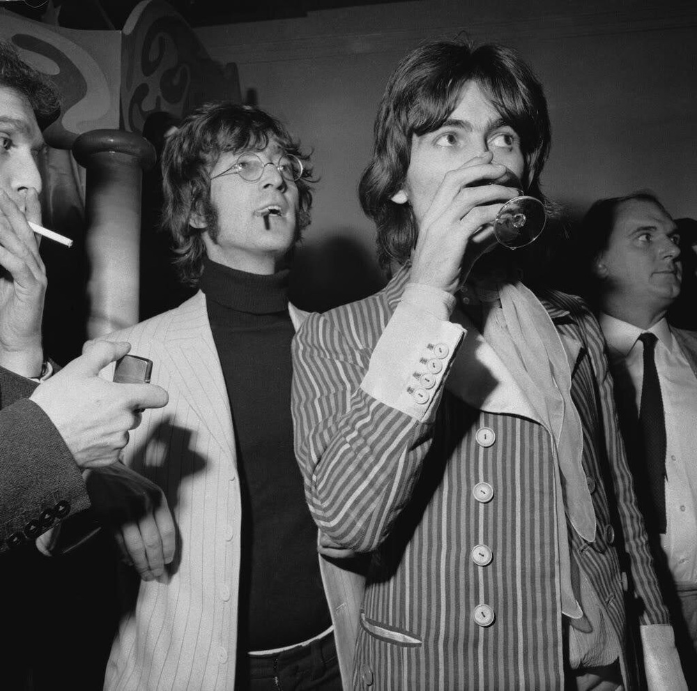 George Harrison and John Lennon at the launch party for the Apple Boutique store, December 5th 1967.
