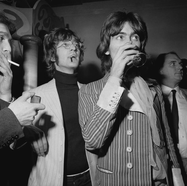 George Harrison And John Lennon At The Launch Party For Apple Boutique Store December
