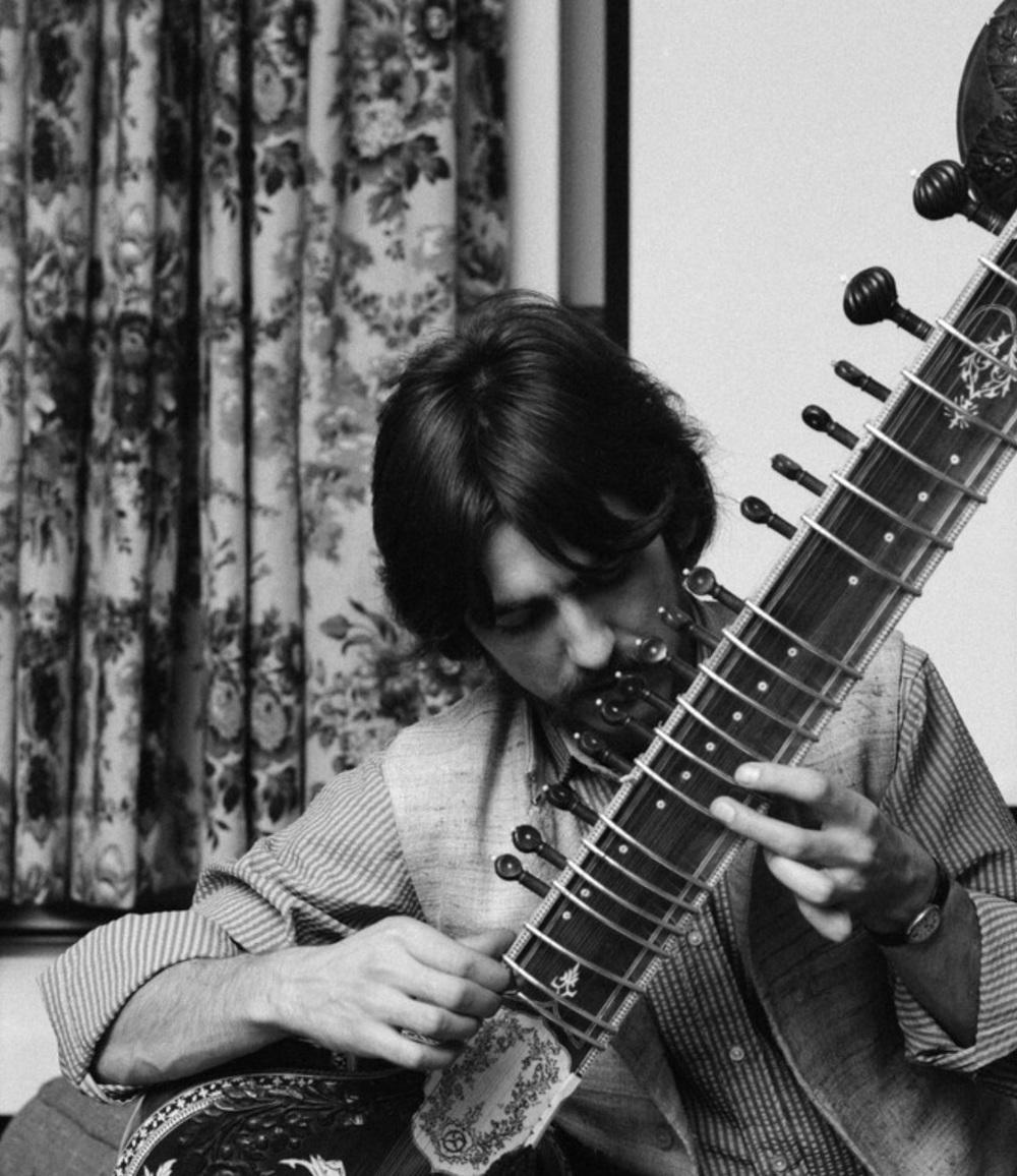 George Harrison practising his sitar, 1967.