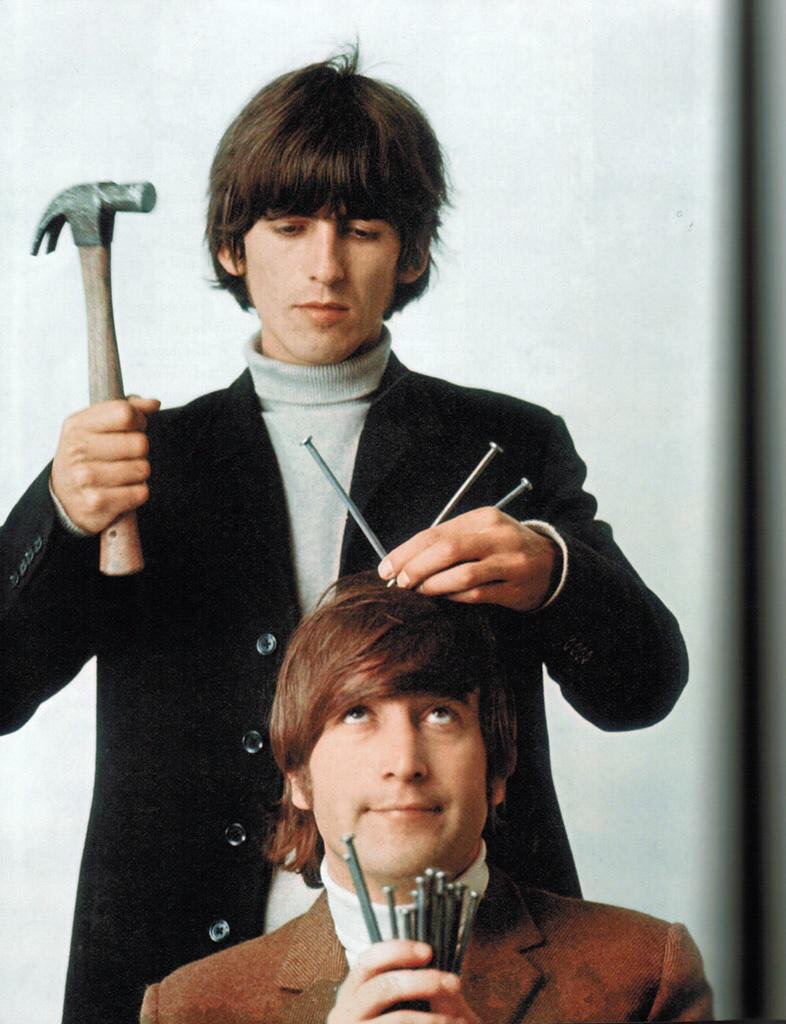 George Harrison and John Lennon at the butcher photo shoot, March 25th 1966.