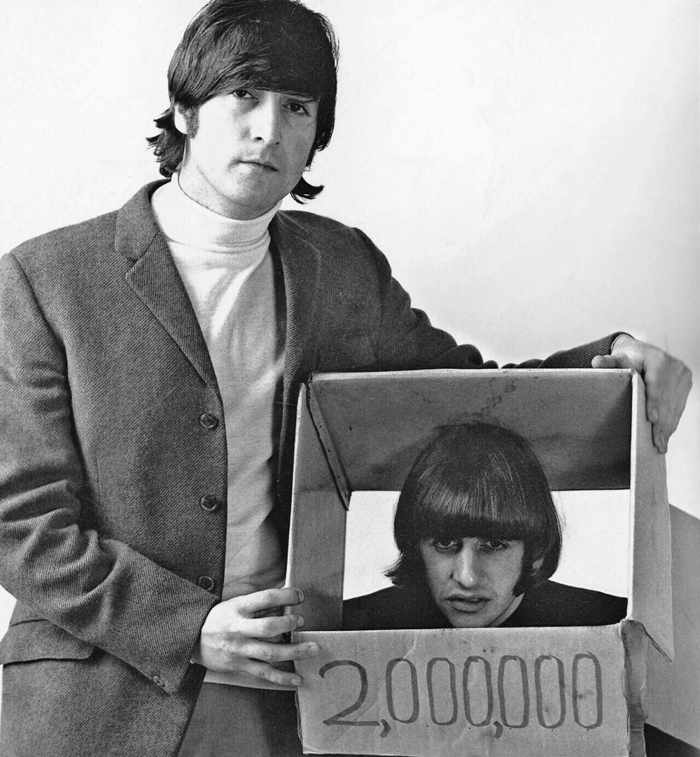 Ringo Starr and John Lennon at the butcher photo shoot, March 25th 1966.