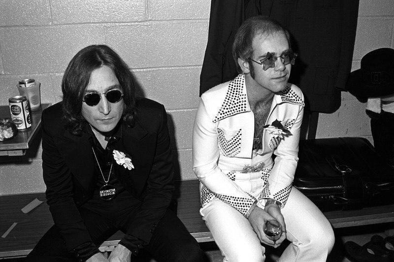 John Lennon and Elton John at Madison Square Garden, 1974.