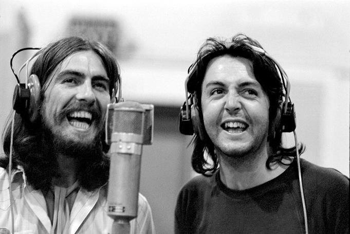 George Harrison and Paul McCartney recording Abbey Road, 1969.