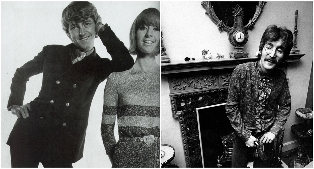 Left: Tara Browne with wife Nicky in 1966. Right: John Lennon at a promotional party for Sgt. Pepper.