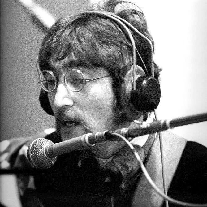 John Lennon recording Sgt. Pepper, 1967.