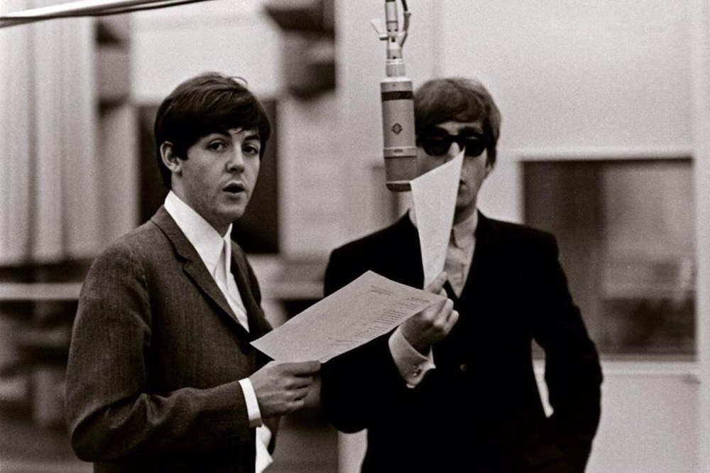 John Lennon and Paul McCartney in the studio, 1964.