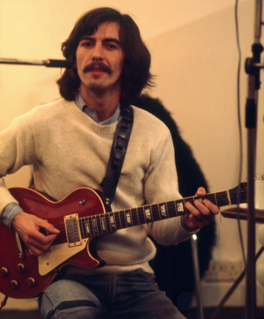 George Harrison during the recording of Let It Be, 1969.