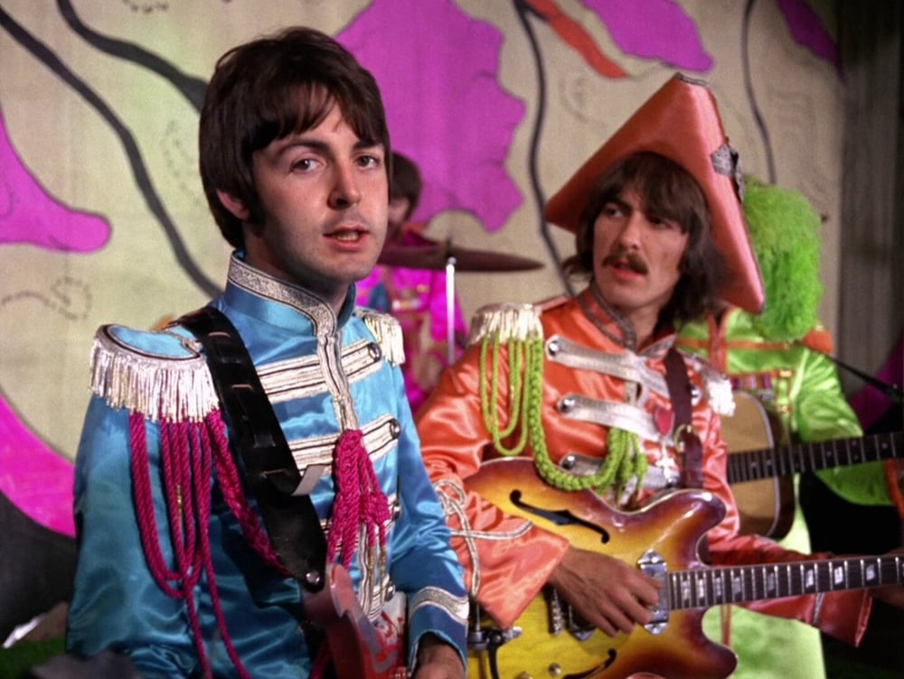 Paul McCartney and George Harrison filming the promo video for Hello, Goodbye, November 10th 1967.