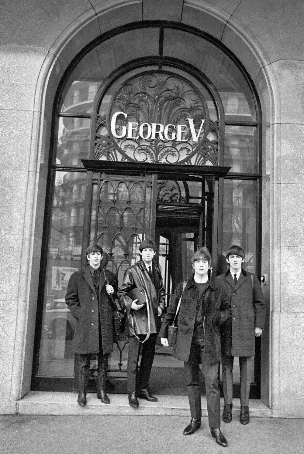 The Beatles at the George V Hotel in Paris, January 1964.