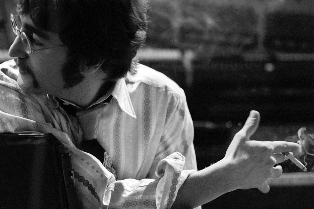 John Lennon during a Sgt. Pepper recording session, 1967.