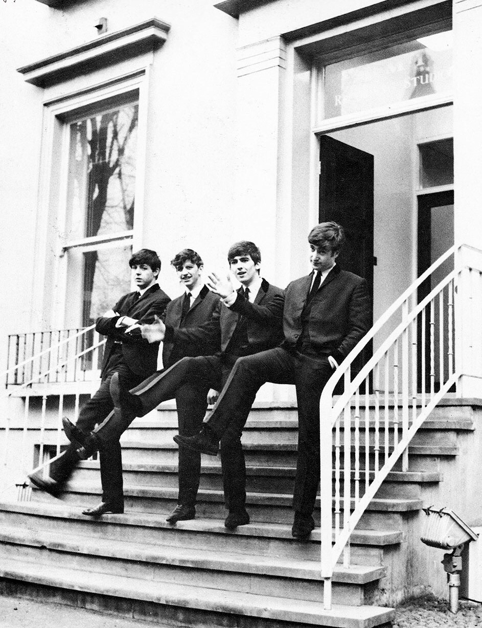 The Beatles outside Abbey Road Studios, 1962. Photo by Dezo Hoffman.