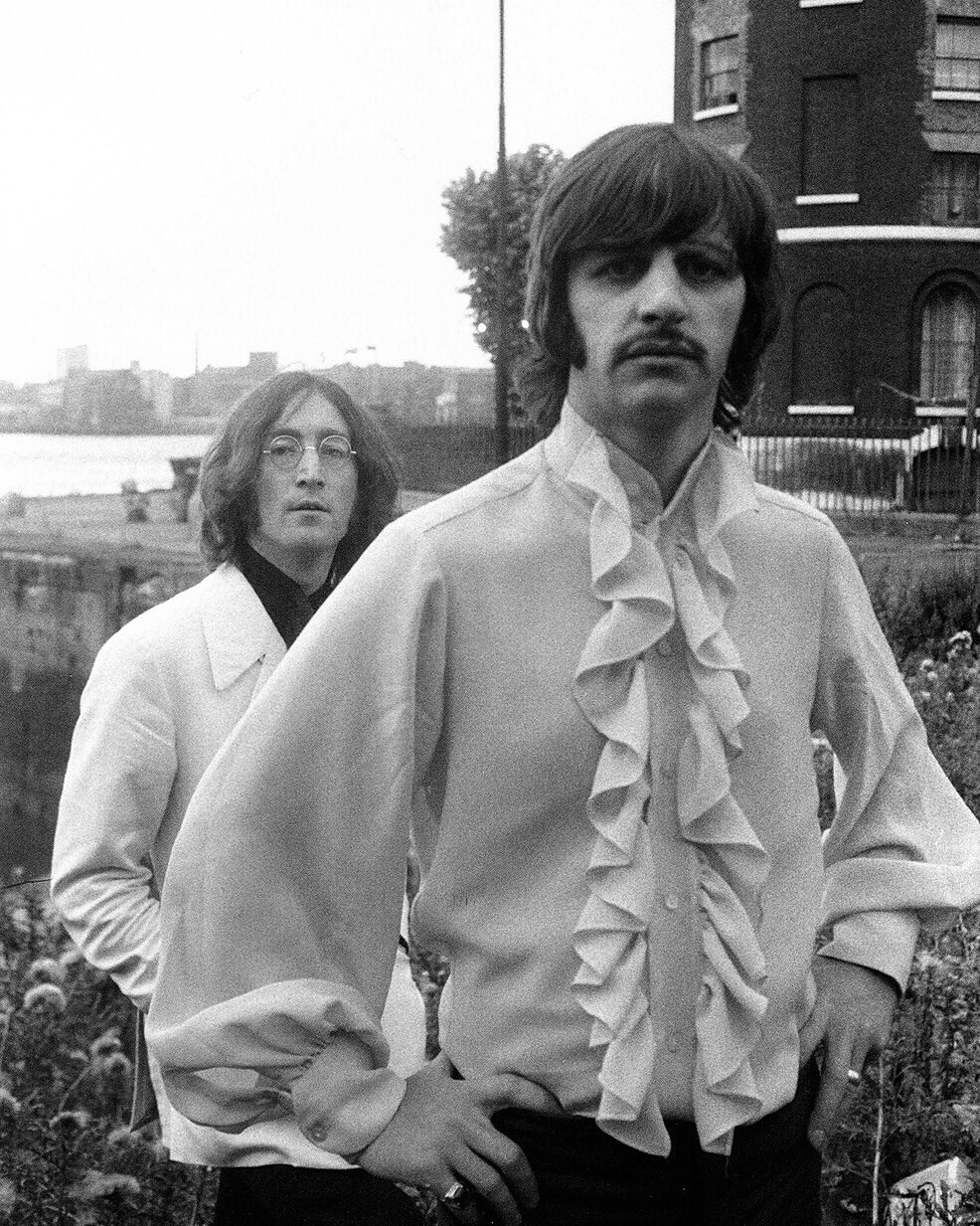 John Lennon and Ringo Starr on the Beatles' Mad Day Out photo shoot, July 28th 1968.