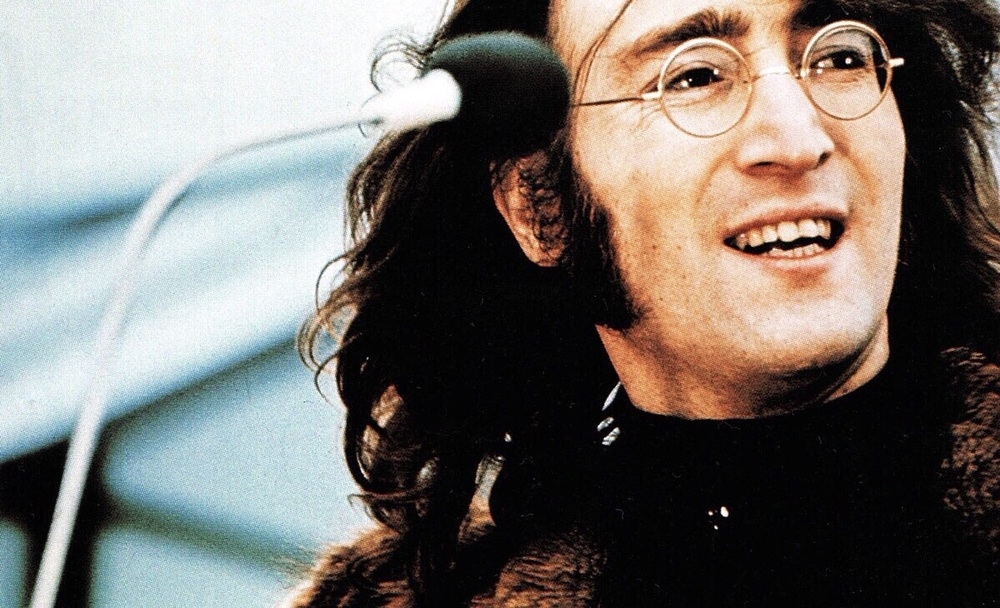 John Lennon performing at the Beatles' rooftop gig, January 30th 1969.